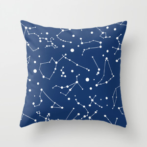 Stars in Your Eyes Constellation Throw Pillow Navy