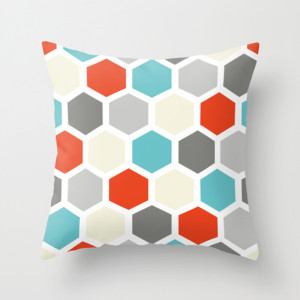 Hexagon Fashion Throw Pillow Neutrals