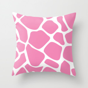 Giraffe Animal Print Fashion Throw Pillow Sugar Pink